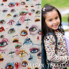 Colorful eyes printing cotton fabric for children's wearing