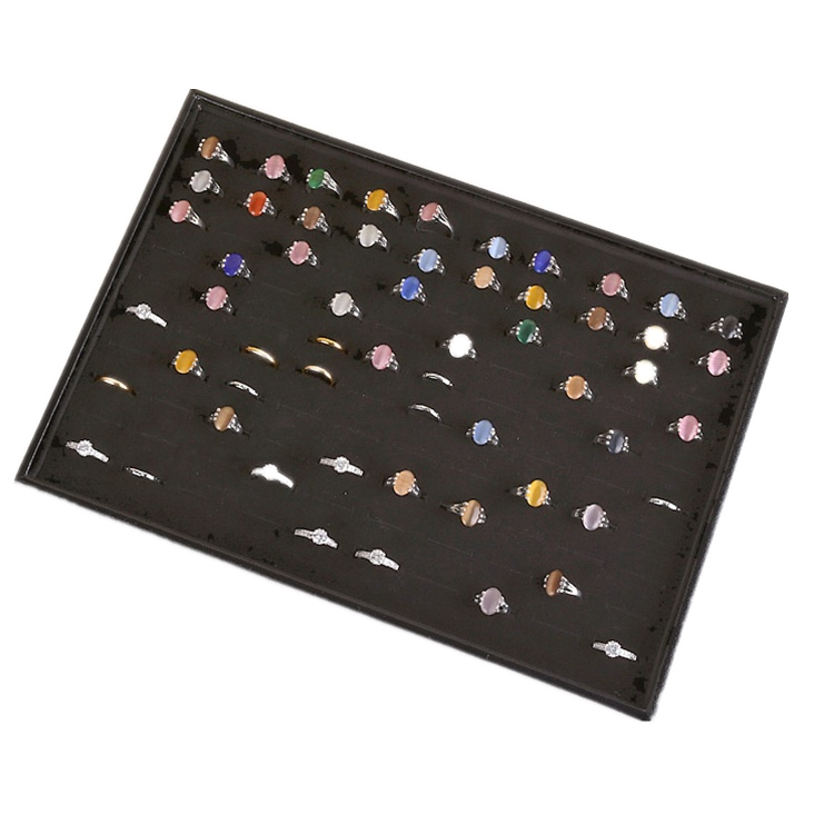 100 slots Black MDF with velvet wedding rings display tray