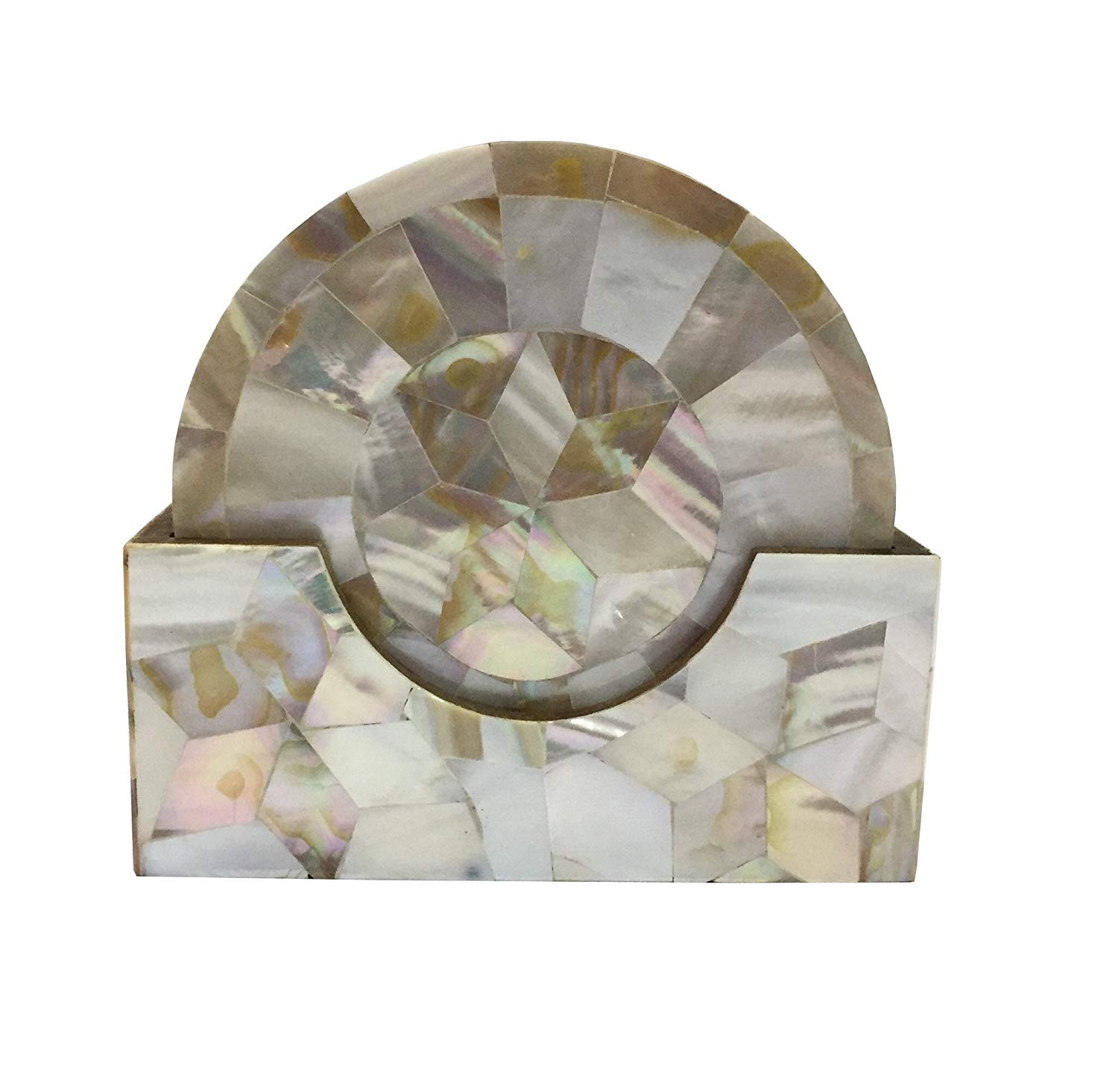 Trend Decorative Mother of Pearl Coaster Set MOP Coaster Gift Item Home Decor Corporate Gift Unique Coaster (White MOP)