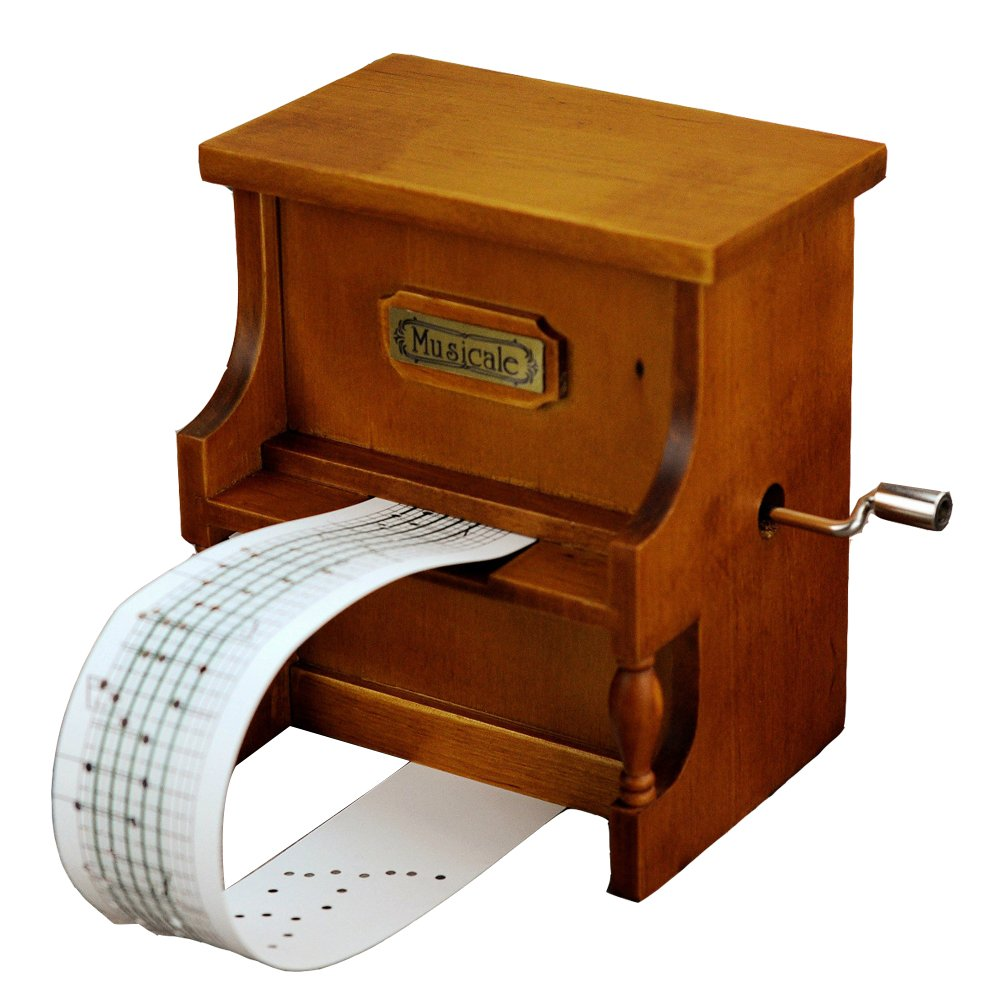 Youtang(TM) Wooden Music Box Musical Piano, DIY Make Yr Own Song Include a Punch and 3 Music Papers, 1 Has Musical Note and 2 Are Blank and You Can Create Your Own Song!