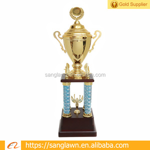 Big Size Metal Cups Wooden Base Trophy