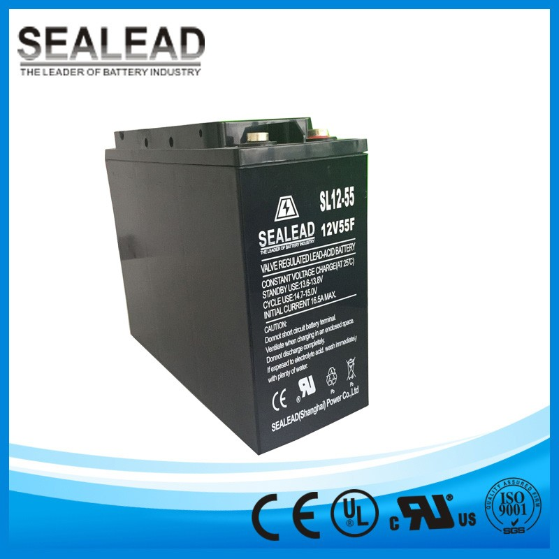 Exclusive promotion deep cycle lead acid battery 12v 55ah front terminal battery for solar energy and wind turbine system