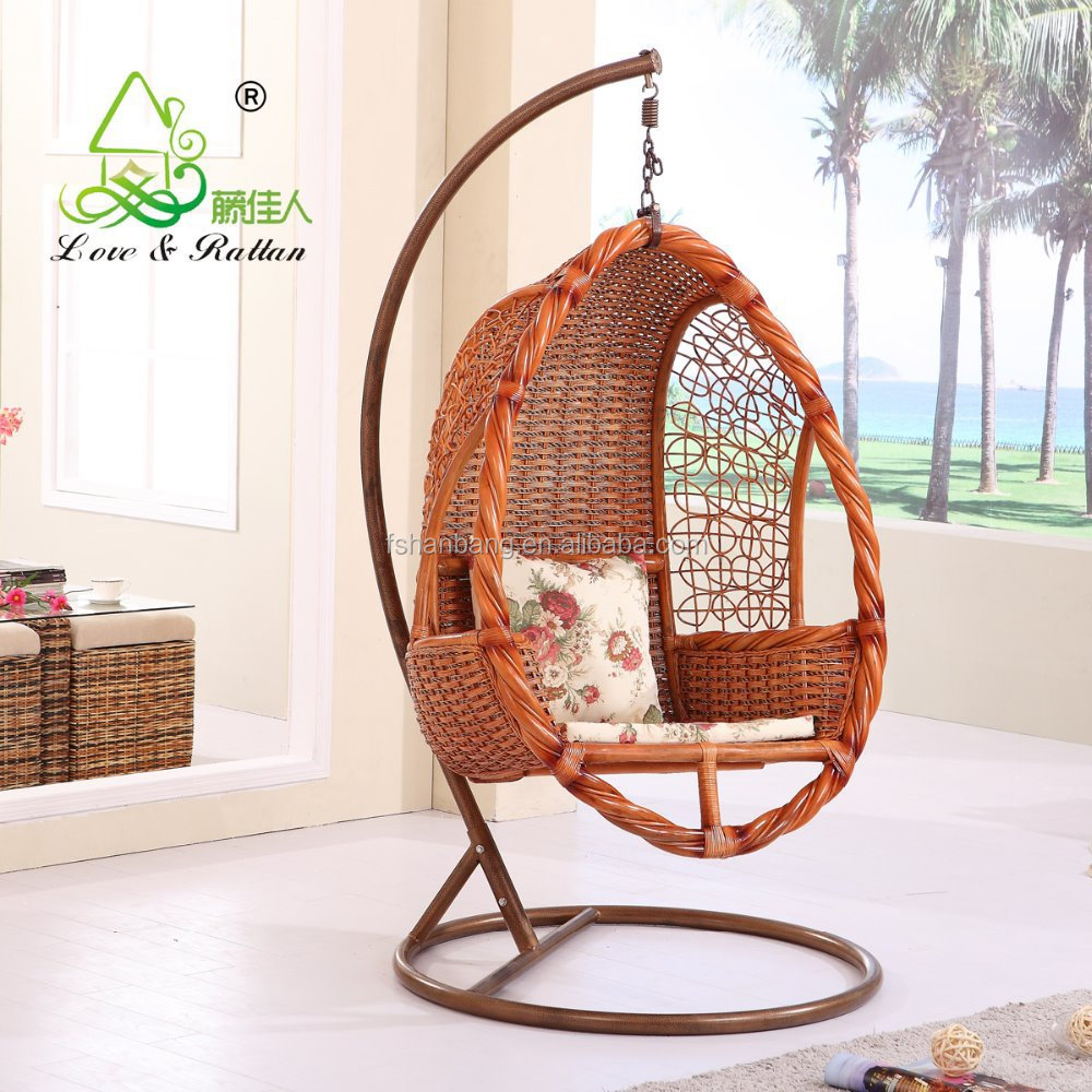 Exceptional High Quality French Indoor Bamboo Real Natural Rattan Wicker Cane Hanging  Swing Chair With Stand