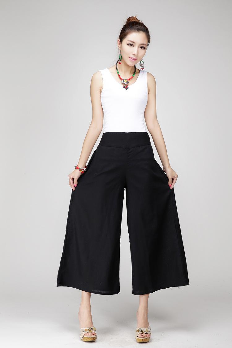 bbd5d77725f16 Compre Pantalones Anchos De Las Mujeres Pantalones Blancos Del Lino Del  Algodón Pantalones De Vestir Negros Del Tamaño Extra Grande Pantalones  Largos Del ...