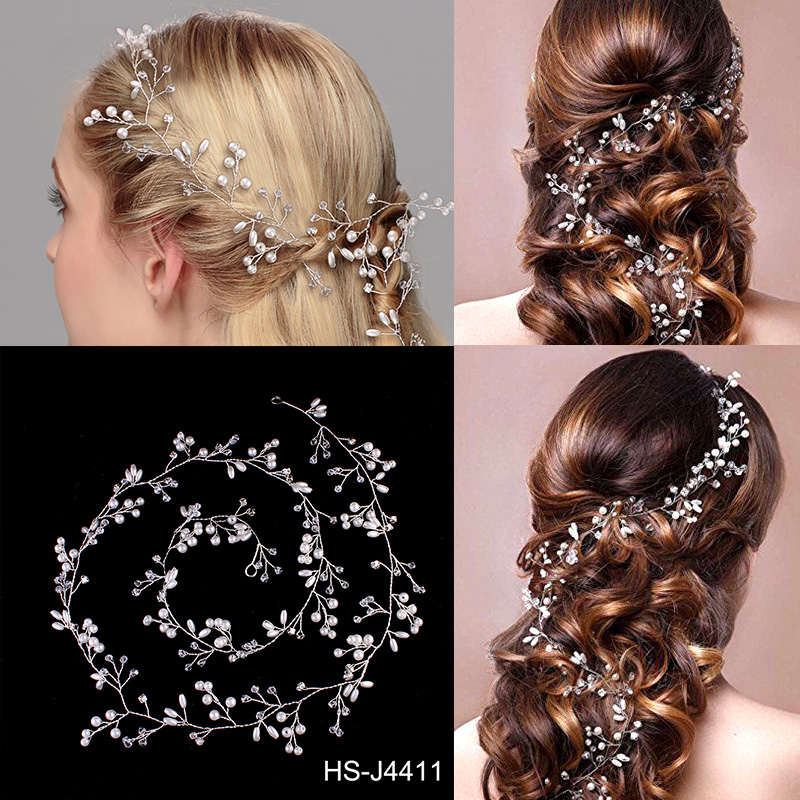 Length Pearl and Crystal Bridal Headpiece Bridal <strong>Hair</strong> Band Tiara Silver Plated Wedding <strong>Hair</strong> <strong>Accessory</strong> for Bride and Bridesmaid