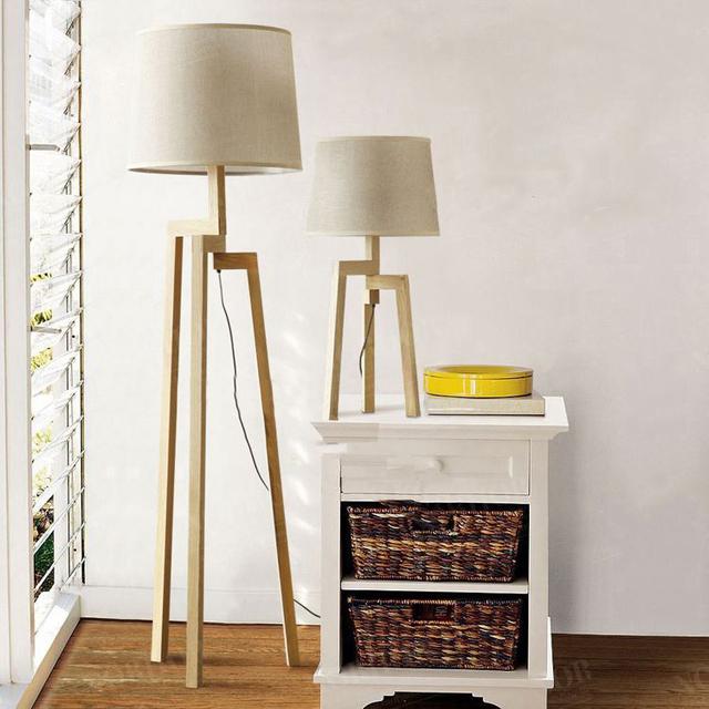 ikea scandinave moderne et minimaliste bois bei simai tissu salon chambre lampadaire d 39 clairage. Black Bedroom Furniture Sets. Home Design Ideas