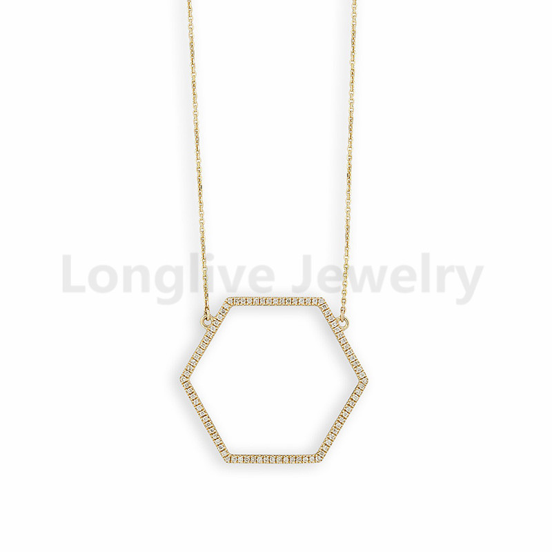 Hexagon necklace with micro pave CZ