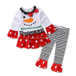 hot sale christmas clothing sets 100% cotton 1 to 5 years christmas little girls remake clothing sets