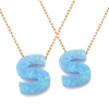Girls Jewellery Necklace Precious Opal Stone Fashion Letter S Alphabet Pendant Charms Design