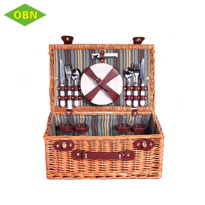 Wholesale new style rectangular natural large willow wicker picnic basket for 4 persons