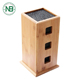 Kitchen Knives Organizer Bamboo Knife Block With 3 square holes on both sides
