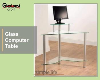 Cadre en métal d angle en verre trempé bureau d ordinateur de