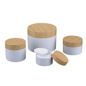 Cosmetics Cream Container Jar 250Ml With Wood Or Plastic Jar Bamboo Cap Pp Jar