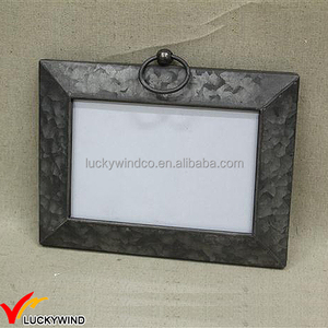 Vintage Rectangle Galvanized Tin Photo Picture Frame