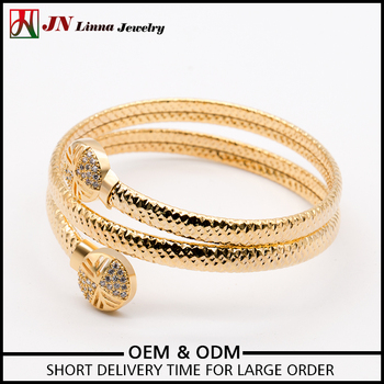 Jn5005 2017 Best Quality Diffe Types 18k Gold Plated Copper Adjule Bangle Snake Bracelet