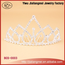 Factory Price!! 2015 New Bridal Wedding Accessories Women Rhinestone Silver Crystal Pendant Crown Tiara