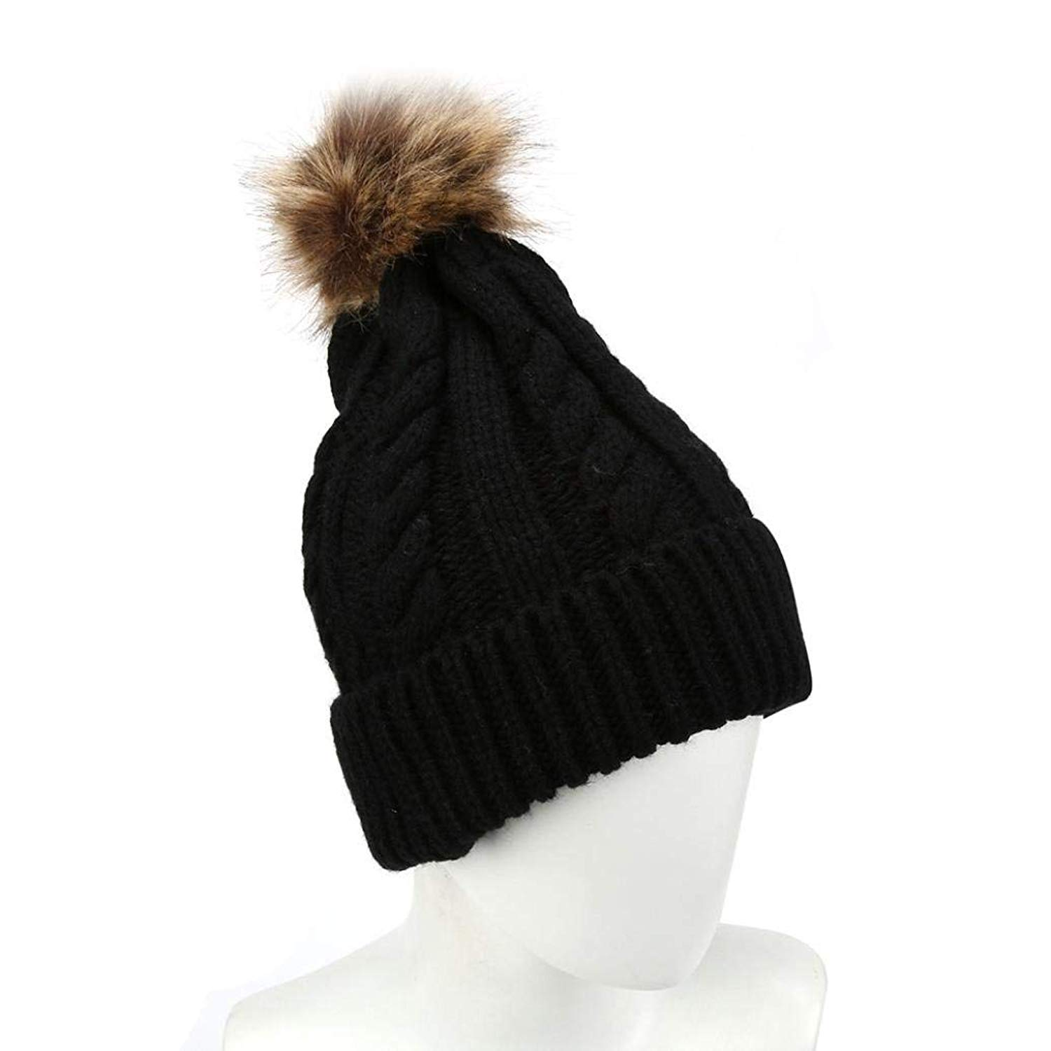aabe8ea765f Get Quotations · Oksale® Women Girls Winter Pom Pom Crochet Knitted Wool  Skull Cap Beanie Hat
