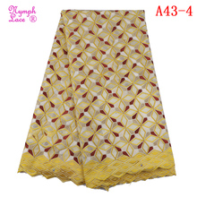 Latest African Voile Lace heavy 100% gold embroidered african dress making swiss lace fabric