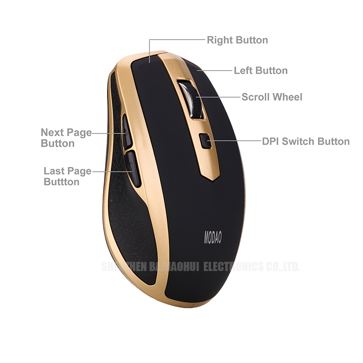 Porket Size Portable Mini Bt Wireless Mouse for PC, Mac, Laptop, Android Tablet - Gold