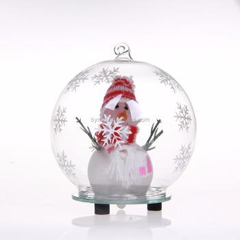 led verlichting kerst glas bal ornamenten met sneeuwpop binnenkant