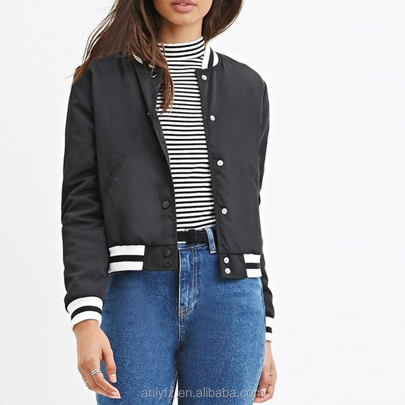 Anly fashion windbreaker handsome pilot baseball black stripes women short jacket