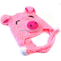 Fashion Cute Pink Pig Animal Shape Children Acrylic Knit Earflap Crochet Baby Hat