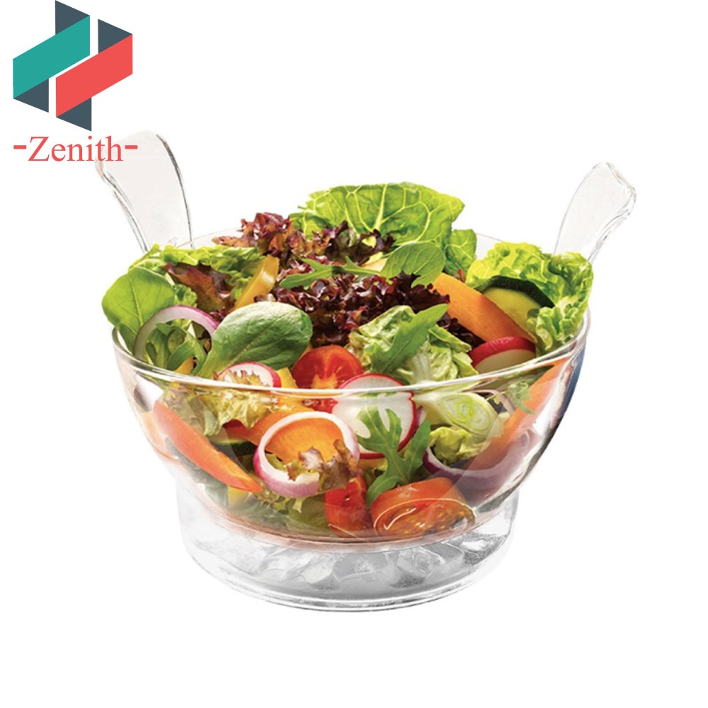 ZNK00001 Low MOQ Ice Chilled Salad Clear Salad Serving Bowl with Servers