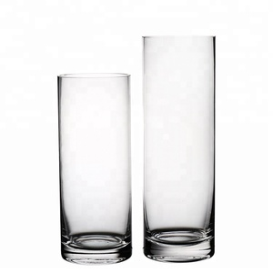 Crystal Handmade cheap tall cylinder clear Glass Vase set
