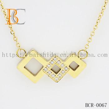 Latest Design Saudi Gold Necklace Fashionable Zircon Thin Chain