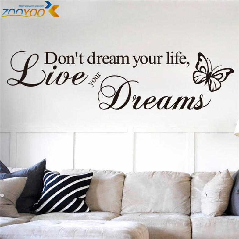 Living Room Wall Quotes: Don't Dream Your Life Quotes Wall Decals Zooyoo8142 Living