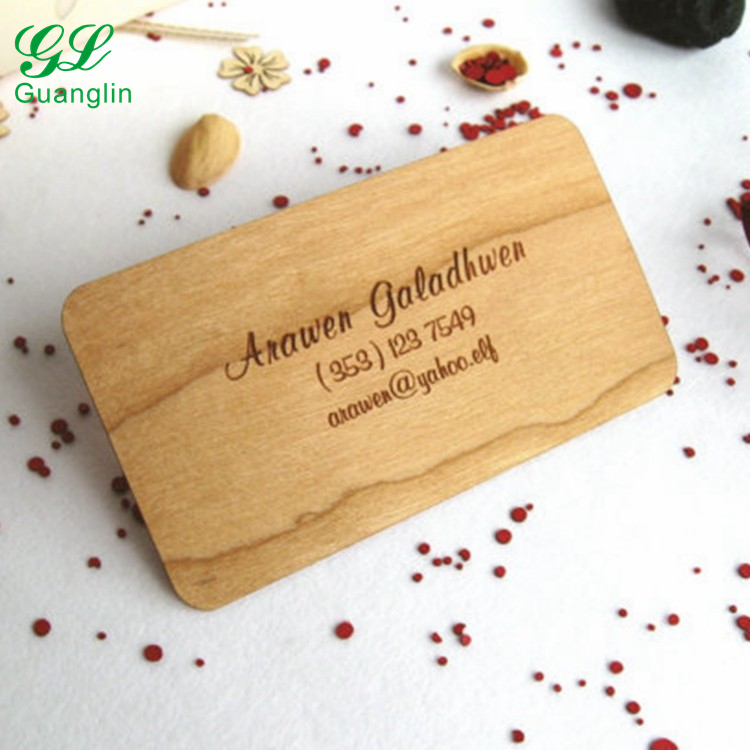 Engraved wood business card