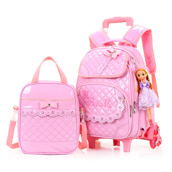 Rolling Backpacks For Girls School Bags Trolley Handbag With Lunch