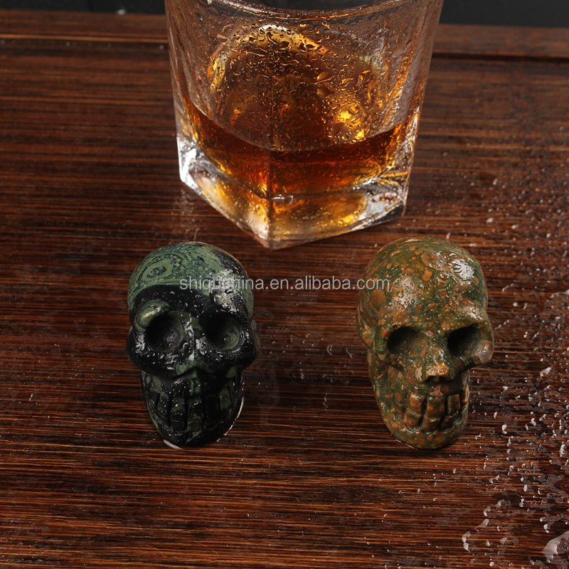 2016 colored decorate for halloween gift natural semi precious stone skull beads for wholesale