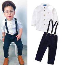 WSG17 fashion kid <span class=keywords><strong>jongens</strong></span> kleding Lange mouw + Jeans casual Kinderen baby boy kleding sets