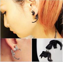 1pc Popular Long Tail Small Leopard Puncture Stud Earrings Black Cat Earrings For Girls Boys mens womens ear piercing jewelry