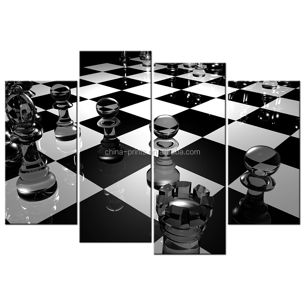 HD Chess <strong>Picture</strong> Printed on Canvas Black and White Canvas Prints Giclee Print for Living Room Office Decoration 4 Panels