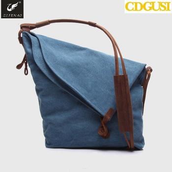 2017 Las Grey Cotton Crossbody Bag For Women Vintage Canvas Leather