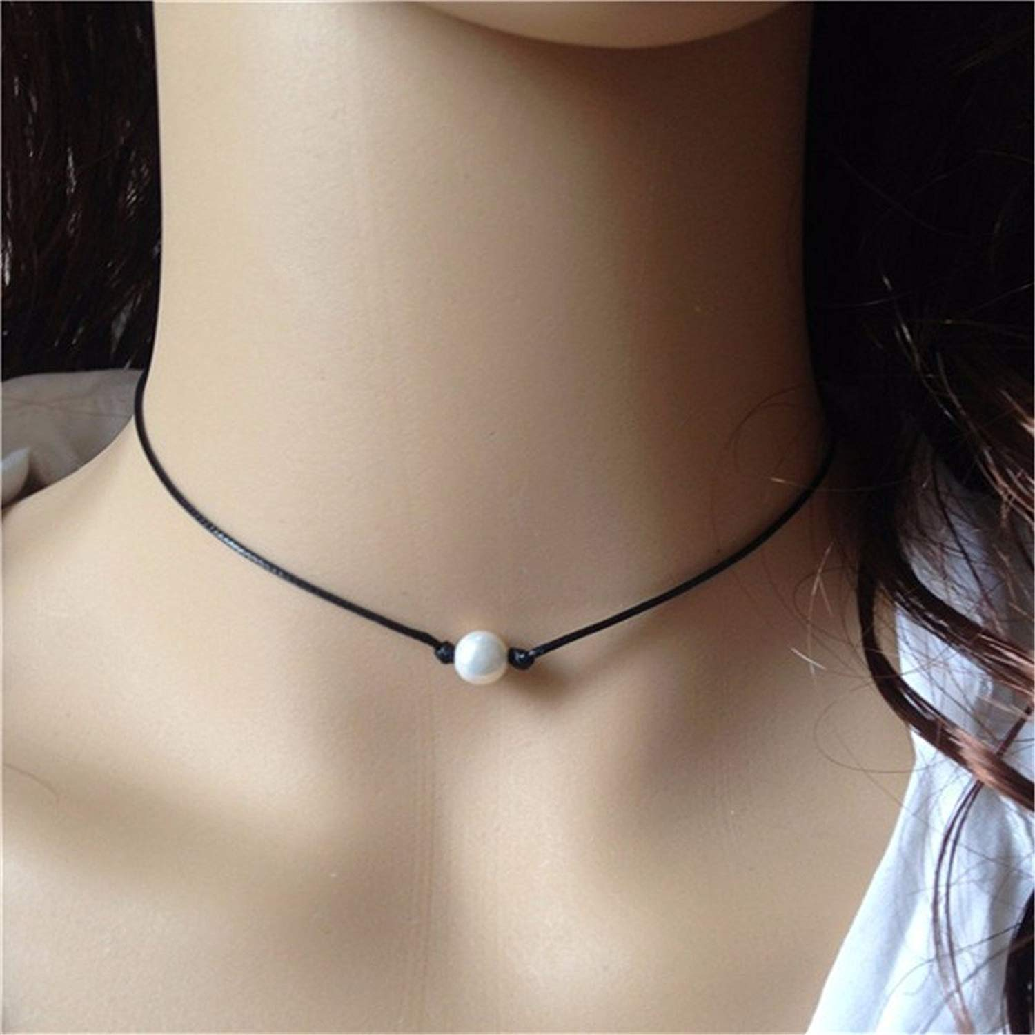 White Pearl Necklace Choker with 8mm Cultured Pearl on Black Leather Single Floating Bridal Pearl Jewelry