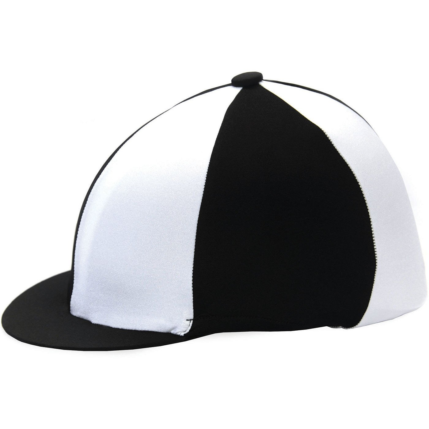 161624b2866736 Get Quotations · HY Two Tone Black and White Lycra Riding Hat Silk