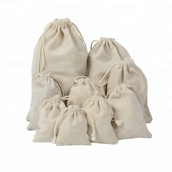 Wholesale Eco-friendly Plain Natural Cotton Drawstring Bags High Quality Gift Packing Pouches