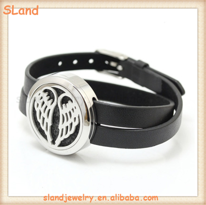 Wholesale Twist on-off or Magnetic slap style 316L Stainless Steel Aromatherapy Genuine Leather Bracelet Essential oil Jewelry