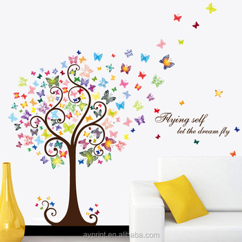 hm92007 fashion decor wall sticker colorful butterfly tree