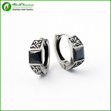 Hot selling fashion big black diamond stainless steel silver vintage earrings