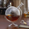 750ml Whiskey Decanter For Spirits Or Wine Decorative Etched Glass Globe Design Spirits Decanter Bottle