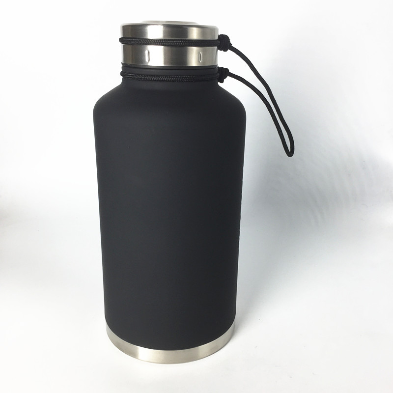 18/8 stainless steel double wall wide mouth 1.9 liter beer growler water bottle