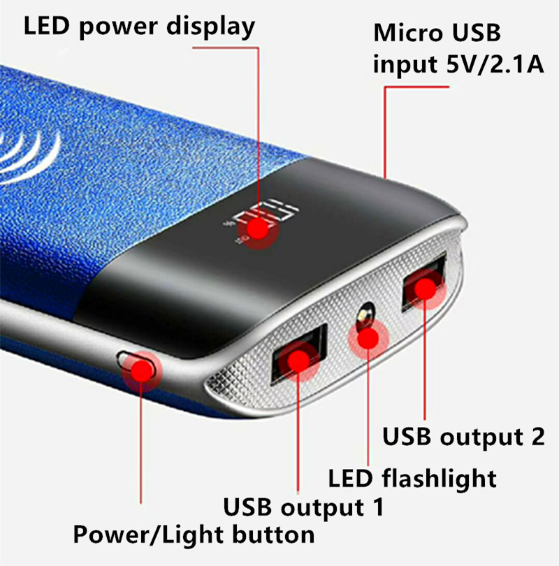 High Safety luxury 20000mah Full Capacity usb power bank for mobile phone