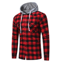 Red & black checker long sleeve shirt for men/ mens check shirts