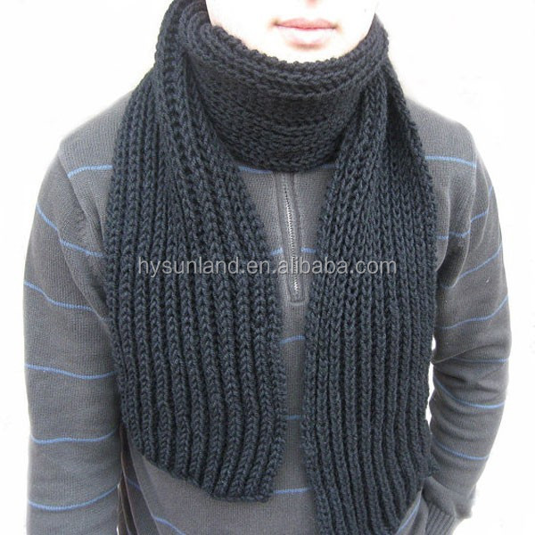 W-438 fashion cheap chunky infinity men black knit scarf for fall winter scarves