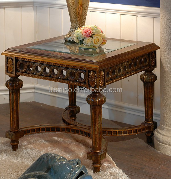 Exquisite Carved Wooden Side Table Antique Gold Painting Coffee With Gl Top Clical Style Living Room Square Hand