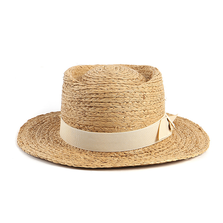 Custom Logo Printed Handmade Raffia Straw Boater Hat - Buy ... 3cb52bc79e2